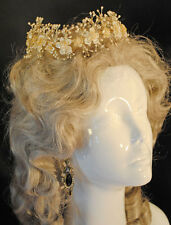 ROMANTIC 1920's  WEDDING BRIDAL WAX PETALED BLOSSOMS TIARA HEADPIECE