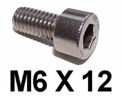 M6 x 12 Inox Allen Boulon Vis cap x 6mm 12mm inoxydable socket capscrews X10