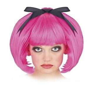 Details about Adult Women\u0027s Short Hair Anime Cosplay Halloween Costume Hot  Pink Bob Wig Bow
