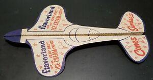 Vintage FLAVORLAND Ice Cream Advertising Paper Airplane Glider