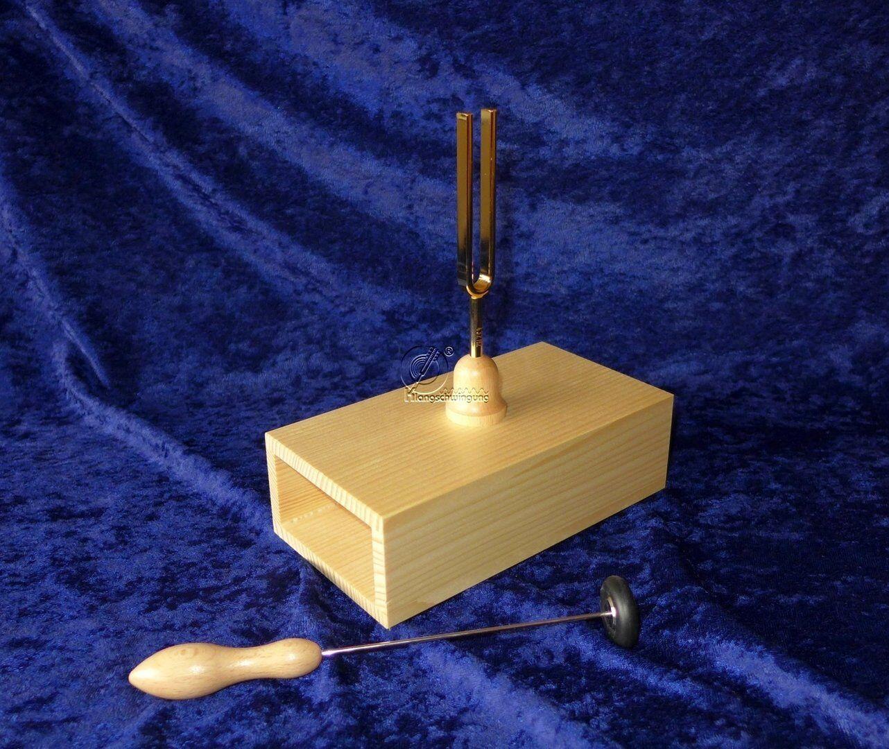 Stimmgabel a` 440 Hz  Gold  auf Resonanzkasten  NEU - Tuningfork Germany