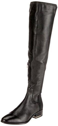 RP140 Aldo leget Noir en Cuir Véritable Plat Sur Bottes Motardes hautes taille 3 5 6