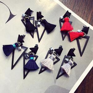 Fashion-Women-Black-Hollow-Triangle-Tassel-Drop-Dangle-Ear-Stud-Earrings-Jewelry