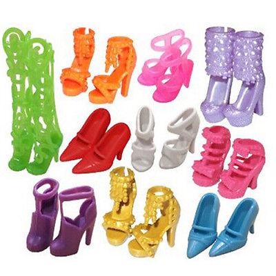 10 Pairs Moda Fiesta DAILY Wear Vestido Atuendos Zapatos Para Muñeca Barbie Moda