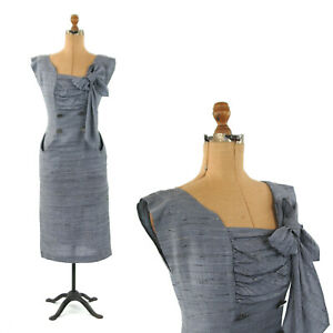 Vintage-50s-Blue-Rayon-Dolman-Sleeve-Hourglass-Rockabilly-Cocktail-Dress-S