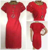 NEW Ex White Stuff Broderie Anglais Red Cotton Dress Size 8 10 12 14 16 18