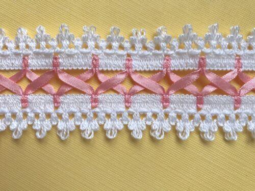 Fabulous Blanc//Rose en Coton Dentelle Avec Satin Laçage Ruban 4.5 cm Trim//Craft