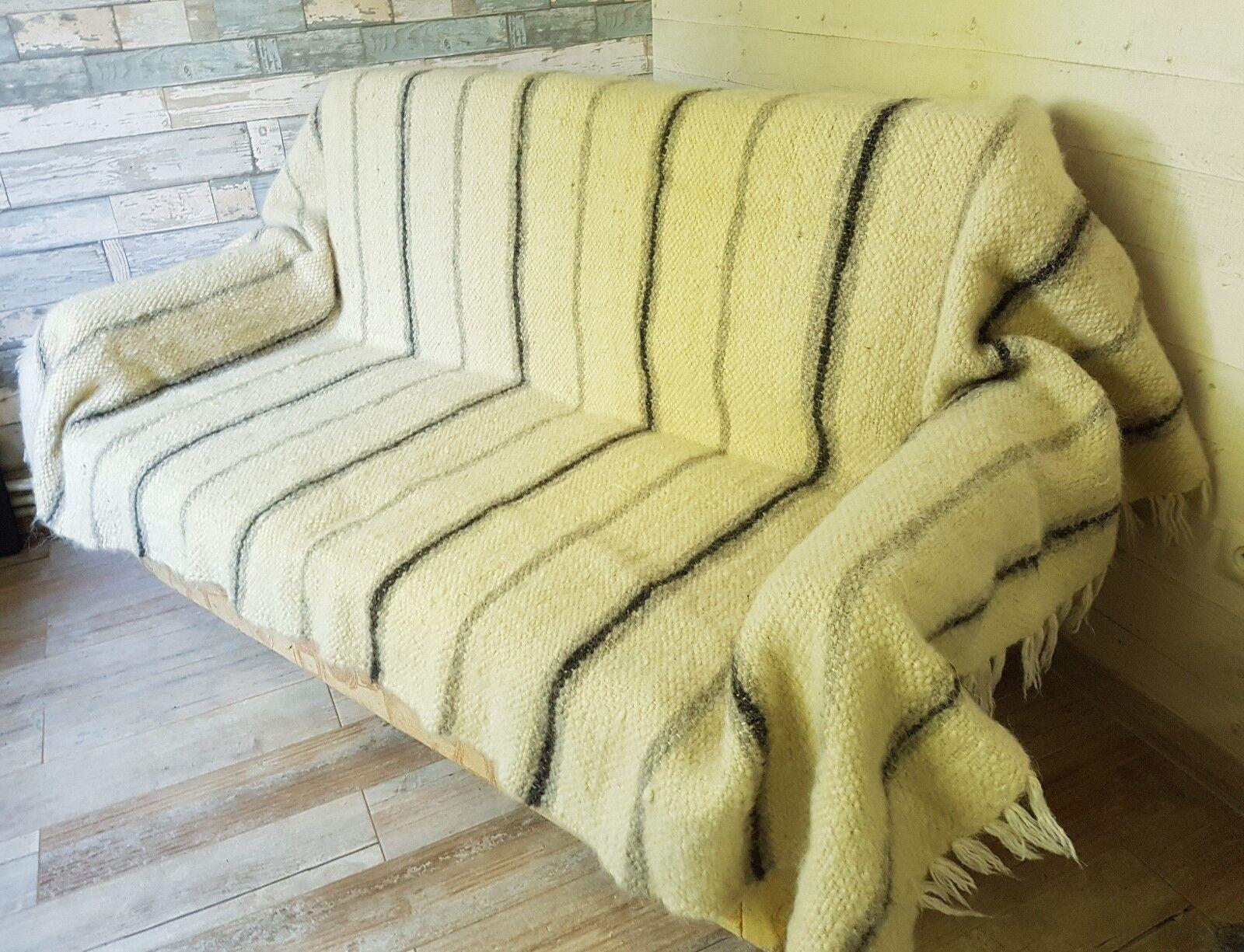 100% PURE Sheep Wool Hutsul handgewebt ECO Blanket   Plaid   Rug 140210 cm