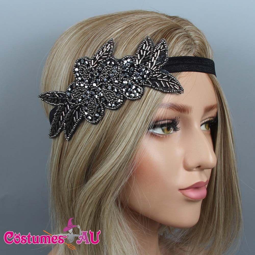 1920s Headband Black Bridal Great Gatsby 20s Gangster Flapper Headpiece
