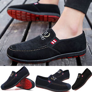mens slip on canvas shoes comfy loafers casual deck
