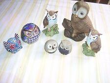 Lot (Flock) of 7 Owls 5 x Ceramic 1 Cloisonné, Wood Need Good Home Bird Ornament