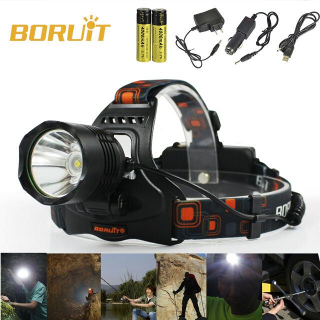 BORUIT Smart XML L2 LED USB Headlamp 2x 18650 Head Torch Camping Lamp Power Bank