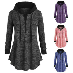 Women-Casual-Plus-Size-Space-dyeing-Long-Sleeve-Hooded-Tunic-Tops-T-Shirt-Blouse