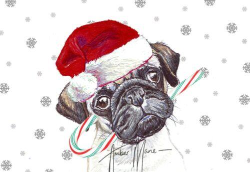 Single Large Luxury Pug Christmas Card Gift//Present Dog
