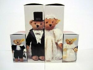 New 1987 Steiff Wedding teddy Bear Party:  Bride. Grrom, Fower and ring Bearers