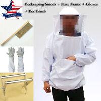 Beekeeping Veil Suit Smock, Hive Frame Holder, Gloves, Bee Brush Tool Equipment
