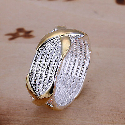 *UK* 925 SILVER PLT CHAINMAIL MESH INTERTWINED GOLD BAND RING WOVEN WICKER THUMB