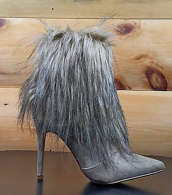 Luichiny Fast Going Pointy Toe Knotted Side Fringe Mineral Wash Denim Booties