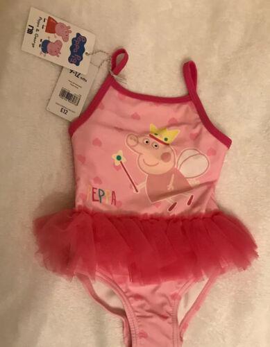 BNWT GIRLS PEPPA PIG PINK TUTU SWIMMING COSTUME 9-12 MONTHS Mothercare