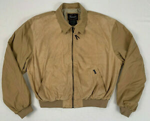 FACONNABLE-suede-leather-tan-microfiber-water-repellant-bomber-jacket-sz-large