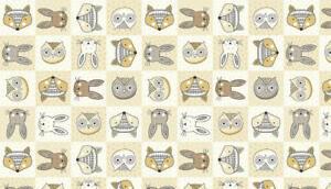 Doodle-Heads-Cream-Animals-Rabbit-Fox-Owl-Cotton-Quilting-Sewing-Fabric