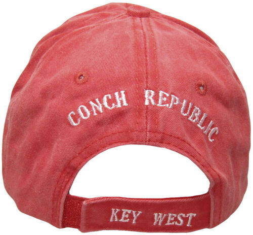 Embroidered Red Washed Key West Conch Republic denim sytle Cap hat RUF