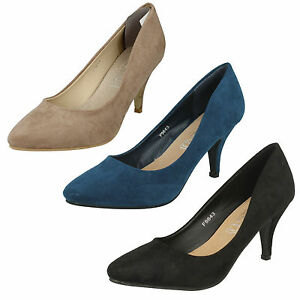 LADIES-SPOT-ON-POINTED-TOE-SUEDE-MID-HEEL-FORMAL-SLIP-ON-COURT-SHOES-SIZE-F9643