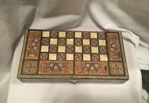 Backgammon-Chess-Set-Middle-Eastern-with-Wood-and-Mother-of-Pearl-Inlay