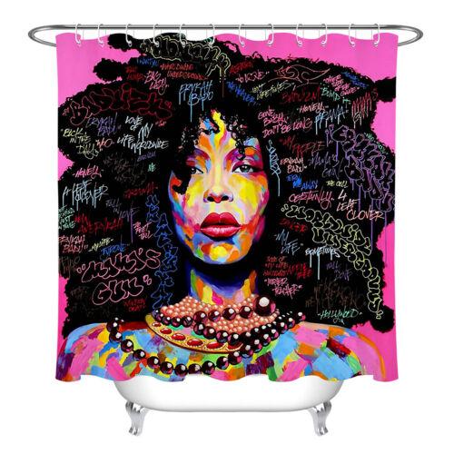 Urban Graffiti Afro belleza Girl patrón Tela Cortina de ducha decoración de baño Set
