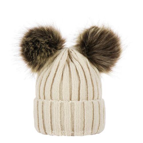 Kids Baby Bobble Beanie Hat Boy Girls Ski Cap Winter Warm Double Pom Pom Knitted