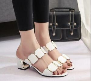a6d528118 Hot Sale Womens Sandals Summer Block Heels Open Toe Slippers Fashion ...