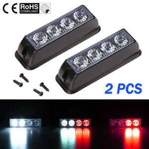 2X-Red-White-4-LED-Car-Truck-Emergency-Beacon-Warning-Hazard-Flash-Strobe-Lights