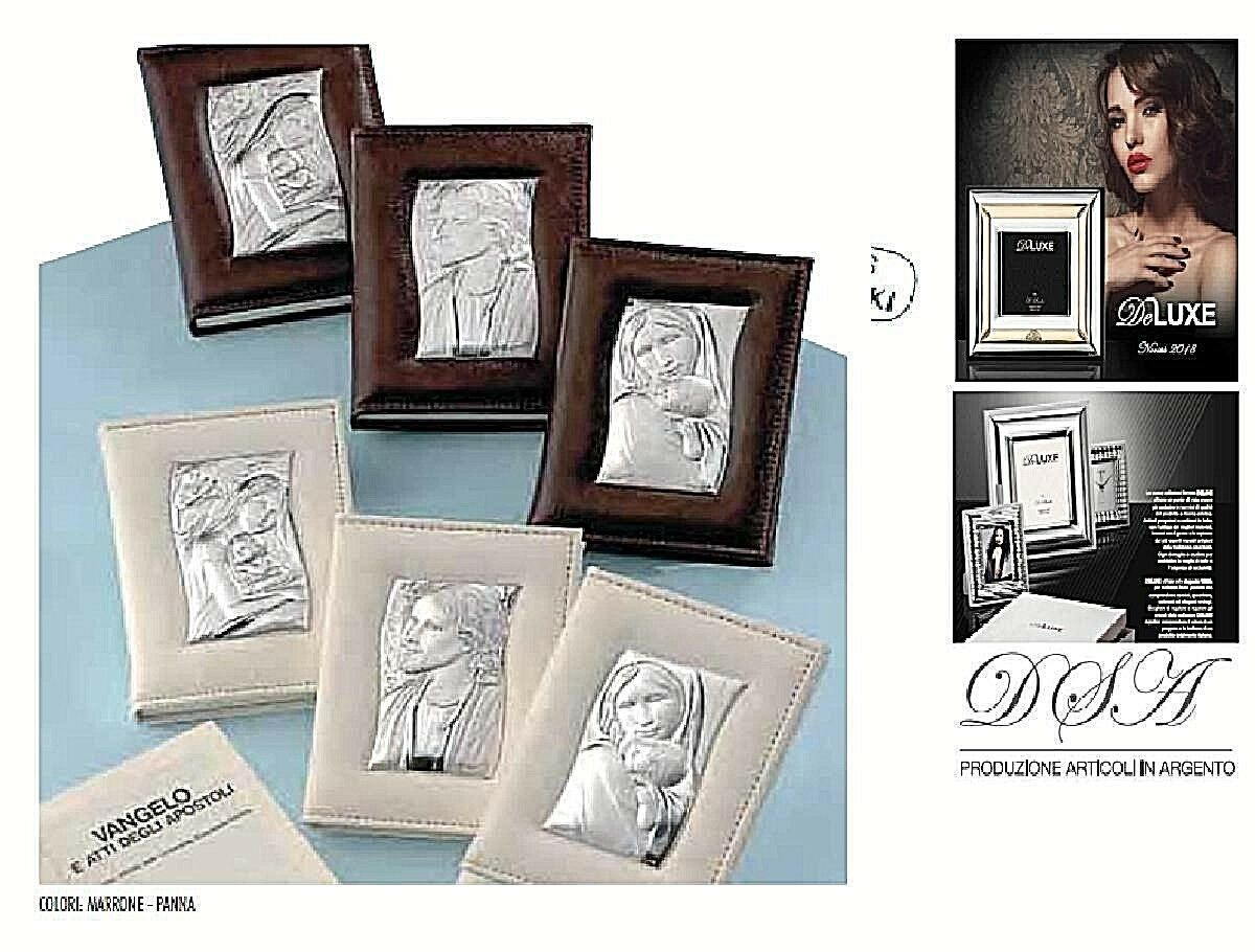 N.10 VANGELO PELLE 11x14 Marrò-Panna Made in  CRISTO in Silber 925 % 3037