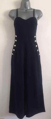 NEW EX QU*Z Navy Button Palazzo Culotte Wide Leg Tailored Panelled Jumpsuit 8-18