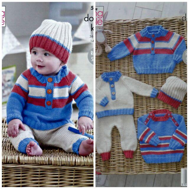 f2d11c563 King Cole 5218 Knitting Pattern Baby Raglan Sweaters Pants   Hat in ...