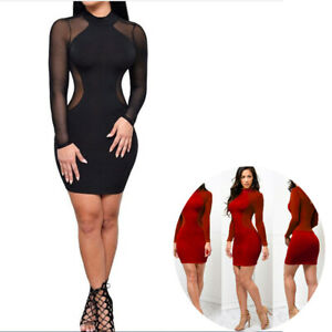 Cocktail-Club-Bodycon-Evening-Long-Sleeve-Women-Sexy-Bandage-US-Mini-Dress-Party