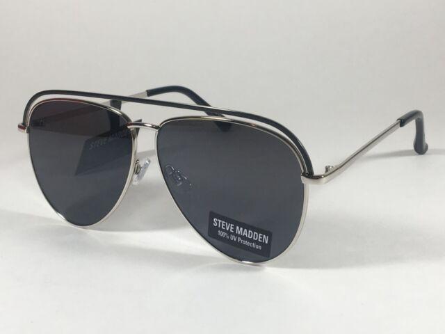 c99faef9cddba Steve Madden Pilot Aviator Sunglasses Top Bar Silver Black Mens Womens  SM482116