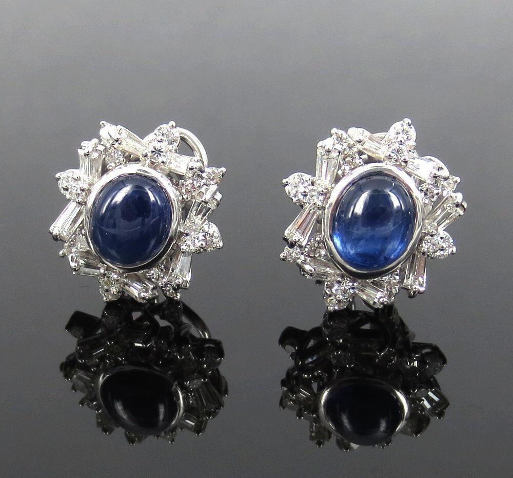 Estate 6.0ct Sapphire & 3.50ct Diamond 18K White gold Earrings