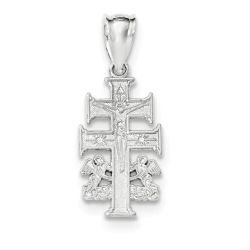 .925 Sterling Silver Polished Caravaca Double Cross w// Angels Crucifix Pendant