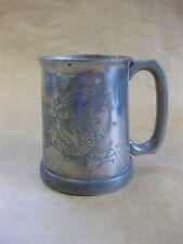 Vintage Chinese Pewter Tankard ~ Glass Bottom / Engraved Dragon ~ Sung Huak
