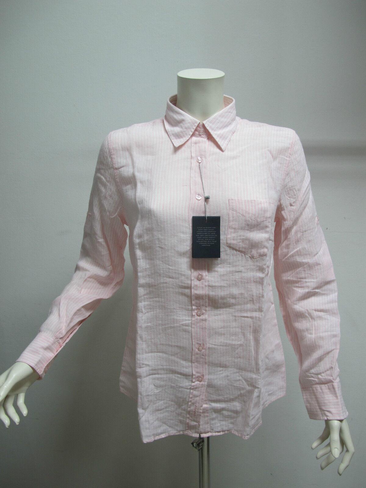 Gant Hemd Damen M   Lang Gestreift Art.430300 Farbe Rosa Weiß Größe 44 Sommer