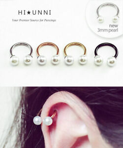 16g Pearl Rose Gold Horseshoe Ring Cartilage Earring Daith Helix
