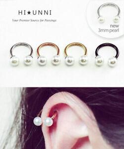 16g Pearl Rose Gold Horseshoe Ring Cartilage Earring Daith Helix Septum Ring 1pc Ebay