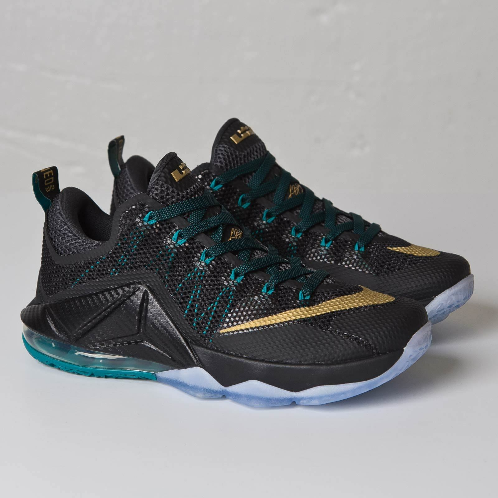 Mens Nike Air Lebron XII Low Sneakers New, Black / Gold 724557-070 SKU AA