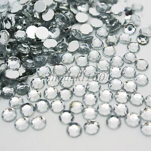 1000-Cristallo-Chiaro-Strass-Argento-Retro-Piatto-Acrilico-Diamante-Gemma-Perline-5mm
