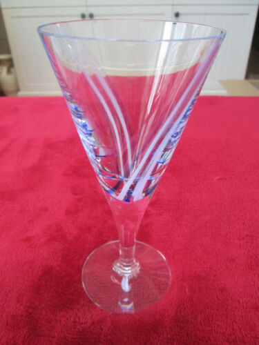 Caithness Crystal Blue /& Pink Swirl Wine Glasses Excellent Condition