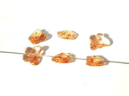 5 pcs #g243 peach Perles de verre papillons à facettes 15x12mm LT