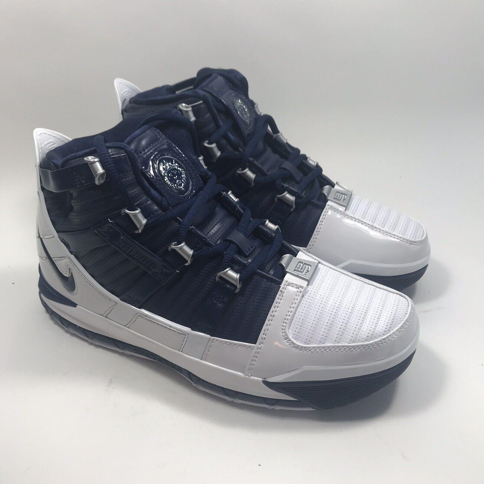 New Nike Zoom LeBron III 3 QS Retro AO2434-103 Size 8.5 Midnight Navy
