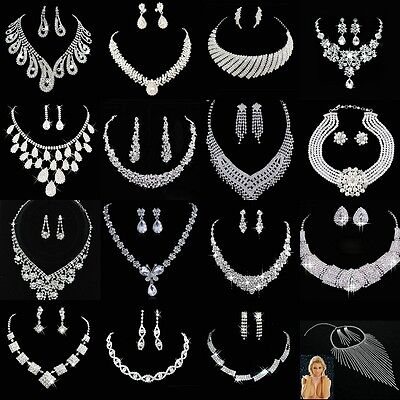 Crystal Rhinestone Necklace Earring Jewelry Sets For Wedding Bridal Party Prom