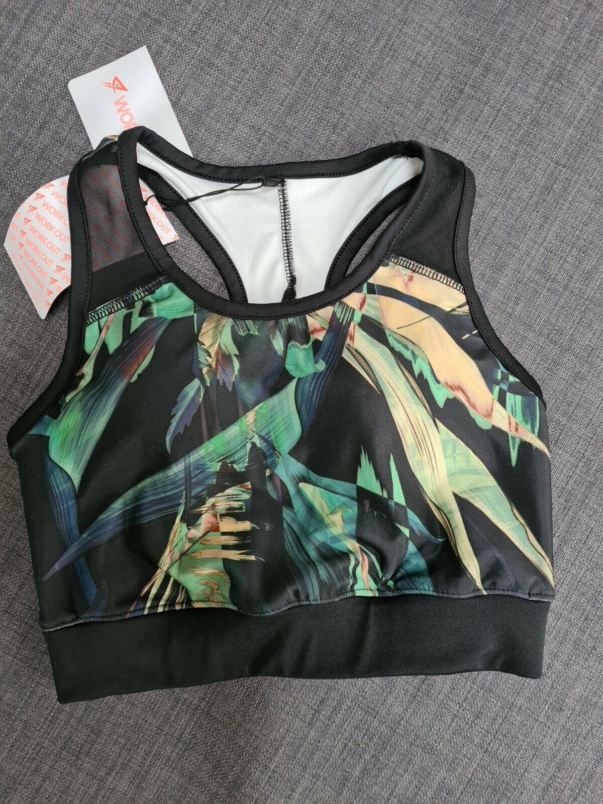 Gym Workout Sports Bra Top Black Tropical Print Size 6 BNWT